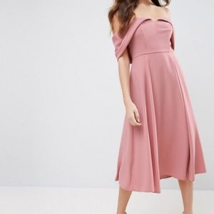 ASOS off the shoulder midi blush dress